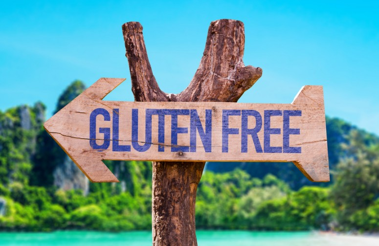 Gluten Free arrow with beach background